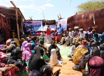 Community members learning about FGM/C in Ina-Afmadoobe village, Burao district.